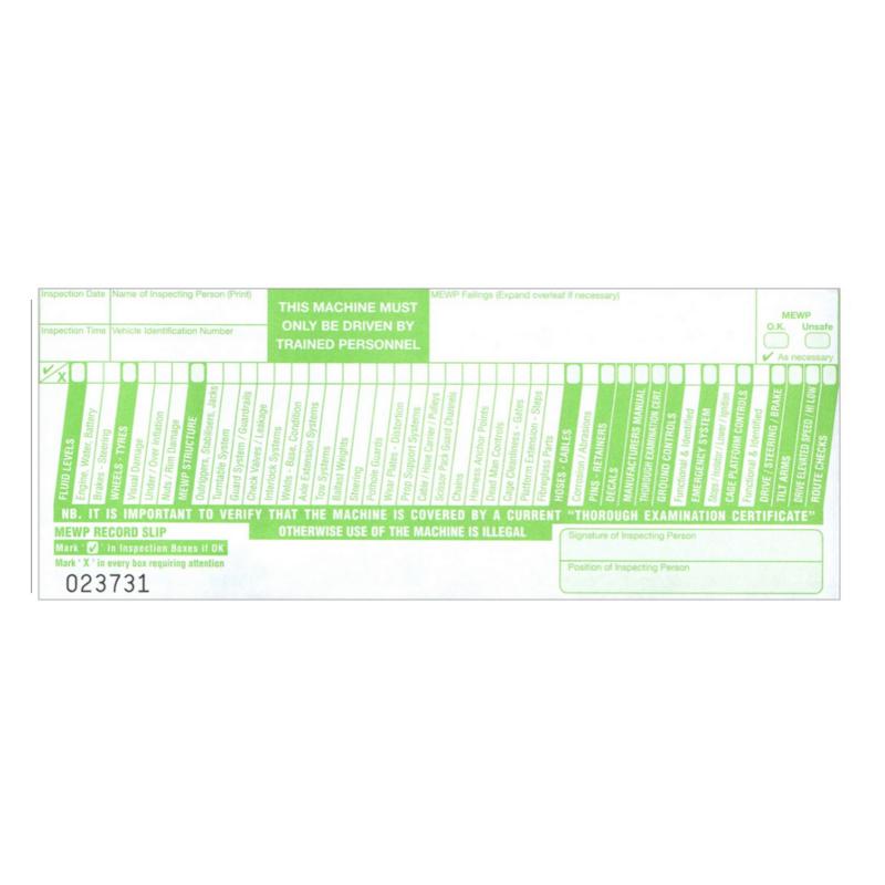 MEWP inspection checklist pad