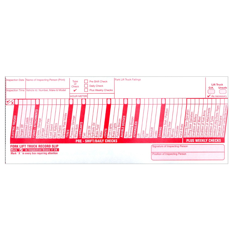Fork lift truck inspection checklist pad