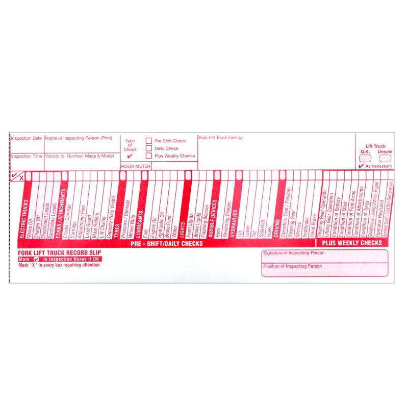 Fork lift truck inspection checklist pad