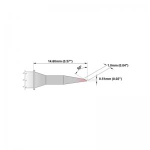 M8LR400 Thermaltronics soldering tip Bevel 60° Long Reach 1.0mm STTC-846